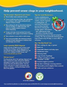 Help Prevent Sewer Clogs in your Neighborhood